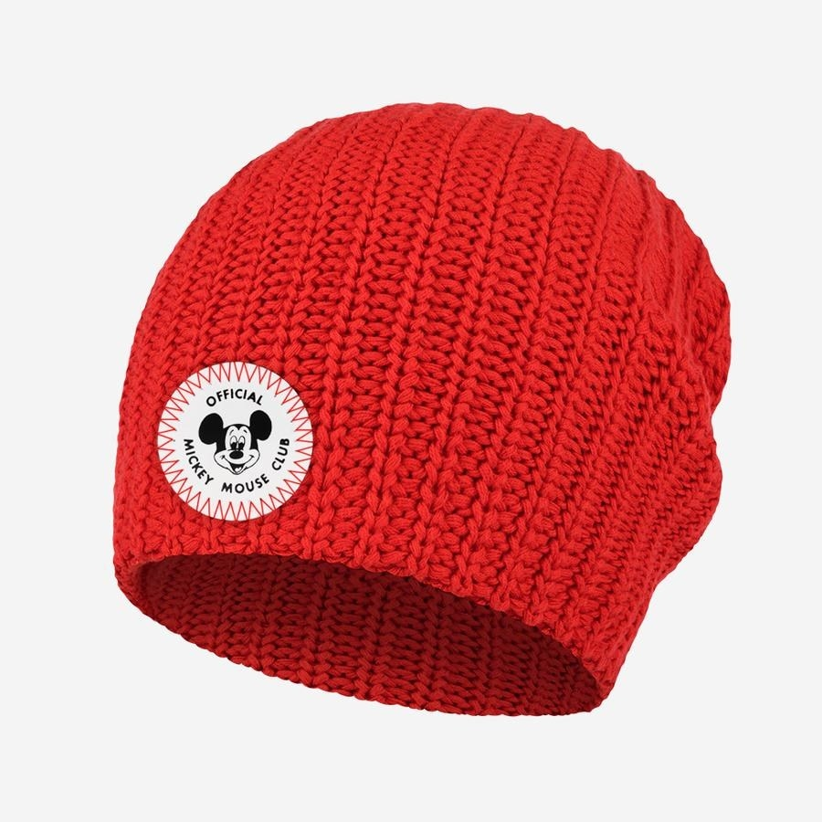 the red slouchy beanie with the mickey mouse club logo on it