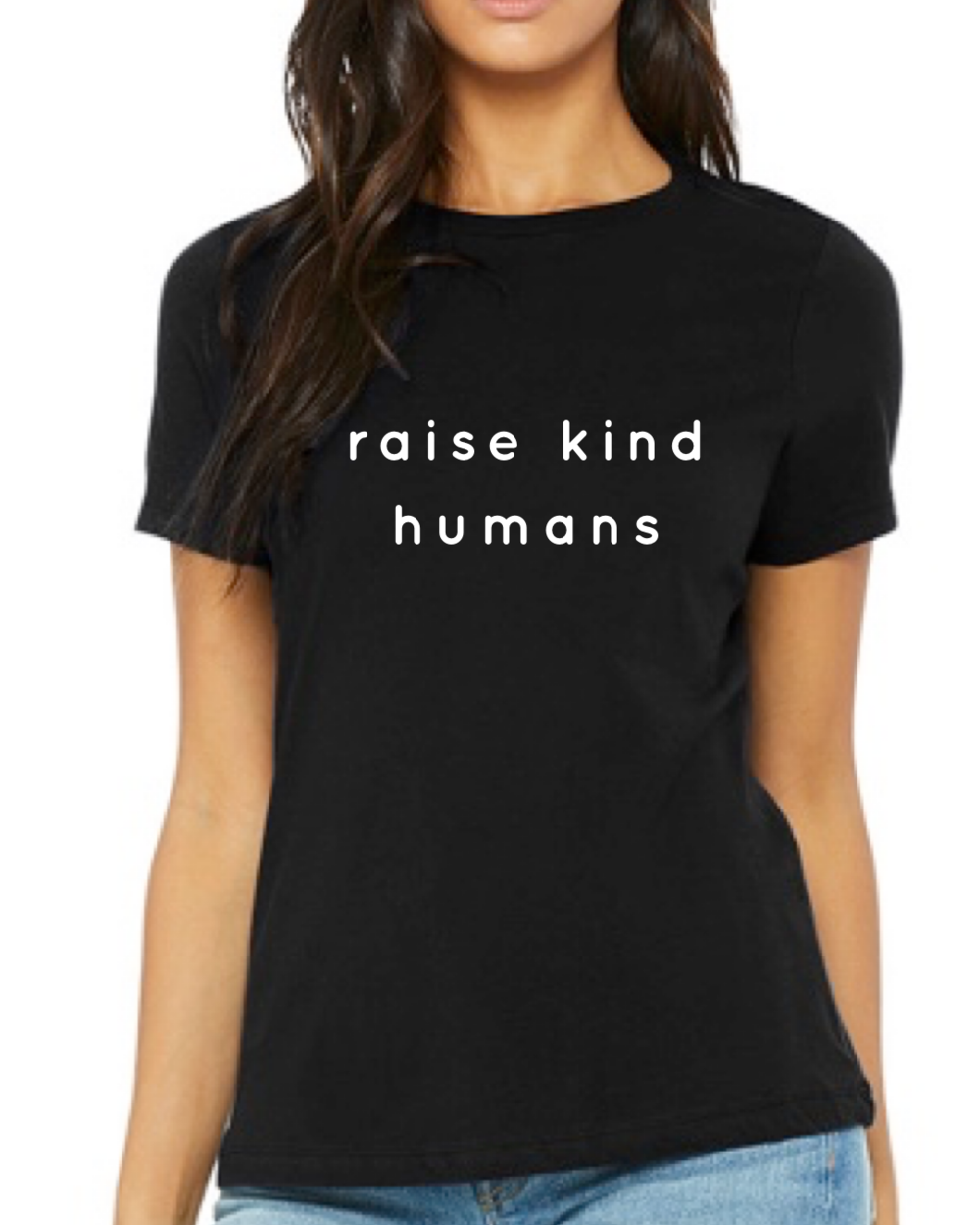 a model in a black tee that says raise kind humans