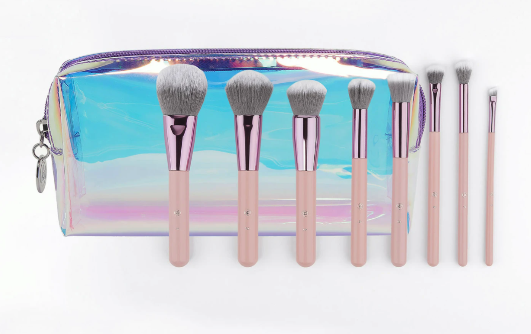 the pink and white 8-piece brush set with the iridescent bag