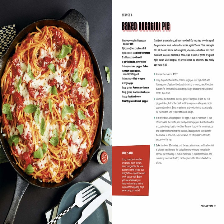 a recipe inside the cookbook for a baked pasta dish