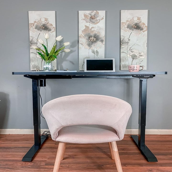 the same desk in its standing position