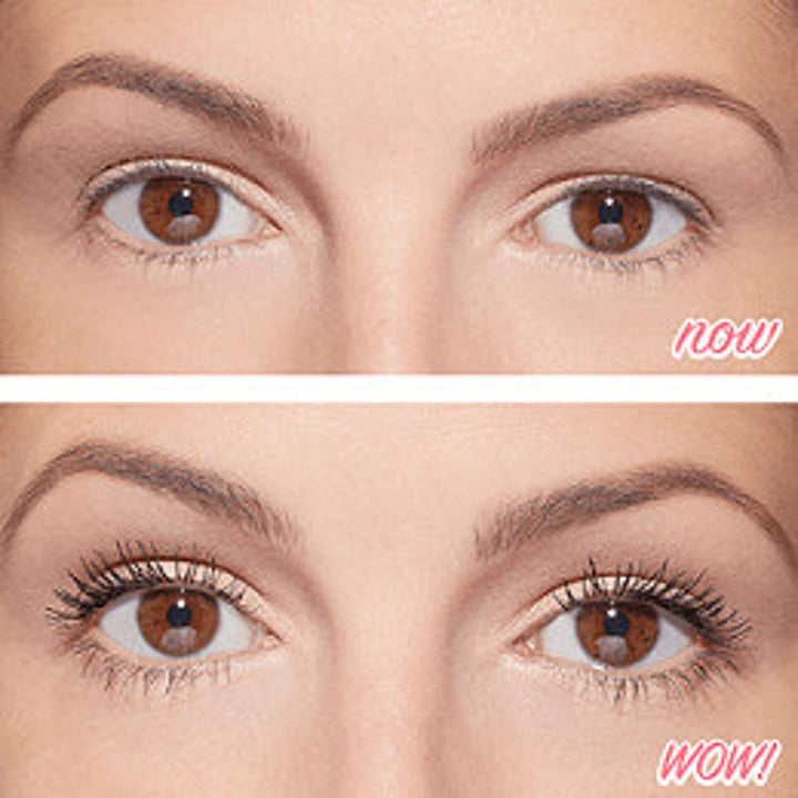 model before and after with the mascara