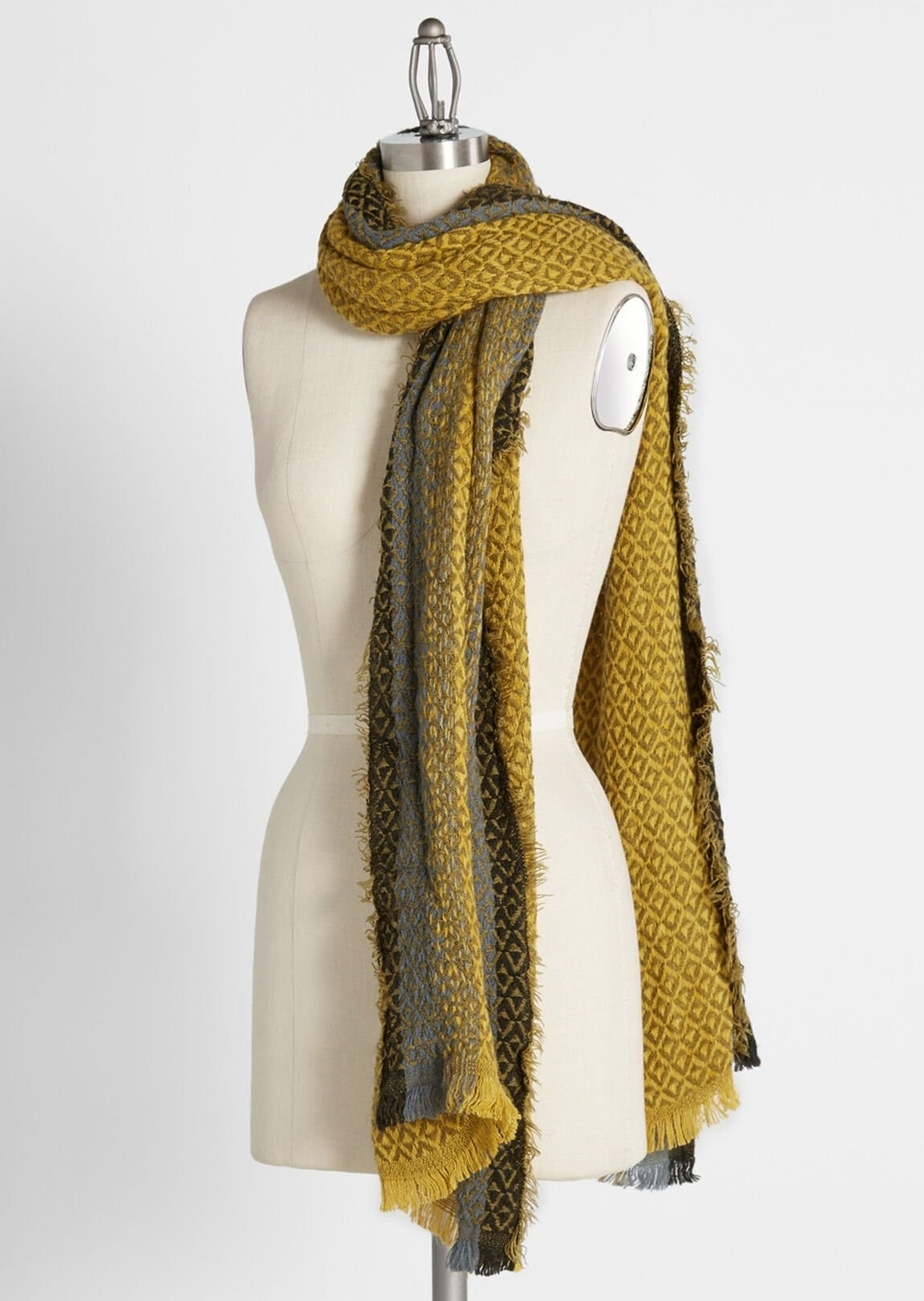 mustard yellow and grey woven scarf