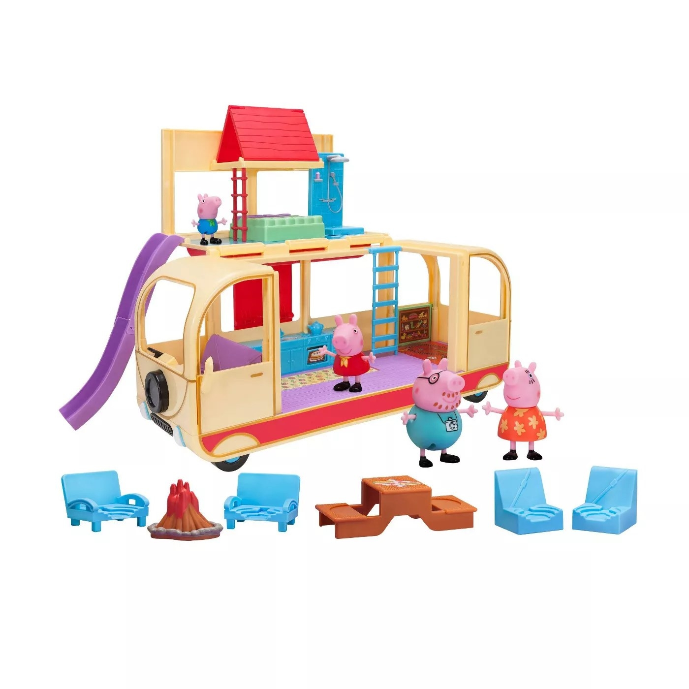 Peppa Pig's family figurines, a campervan, and camping accessories