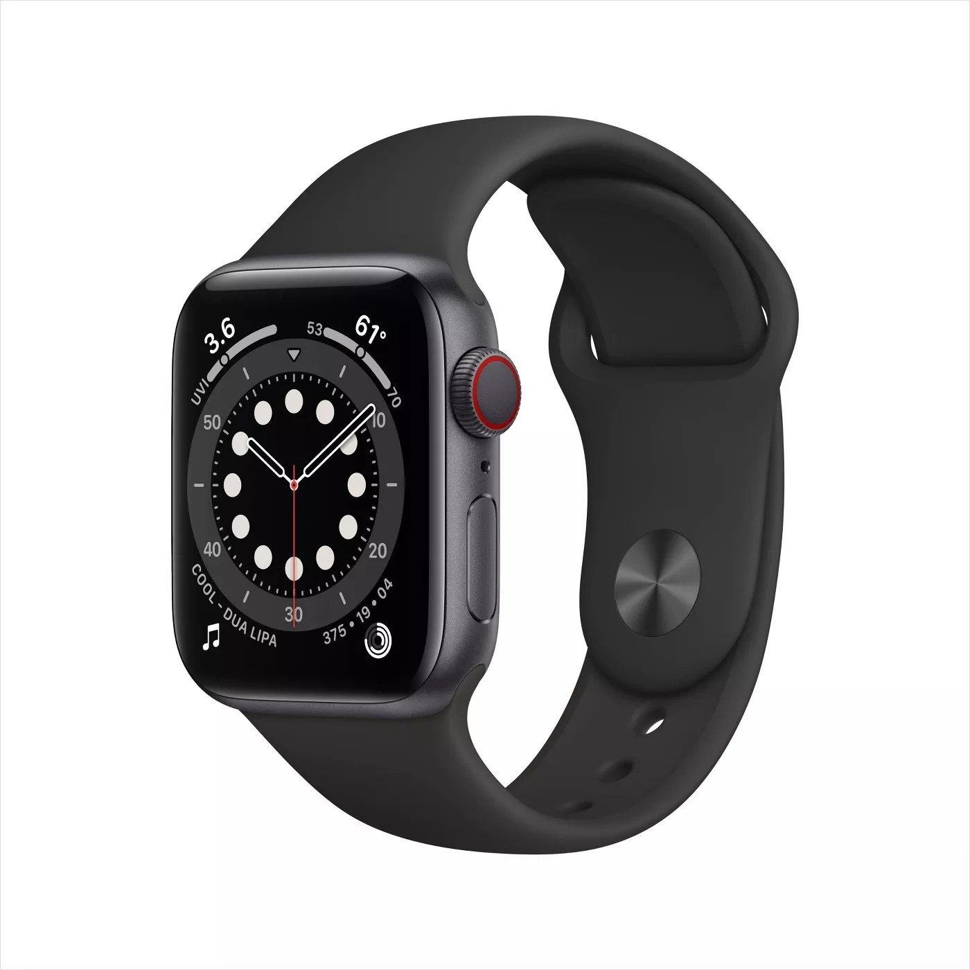The Apple Watch in black showing a clock, the song playing, the Activity tracker, the weather, and the UVI