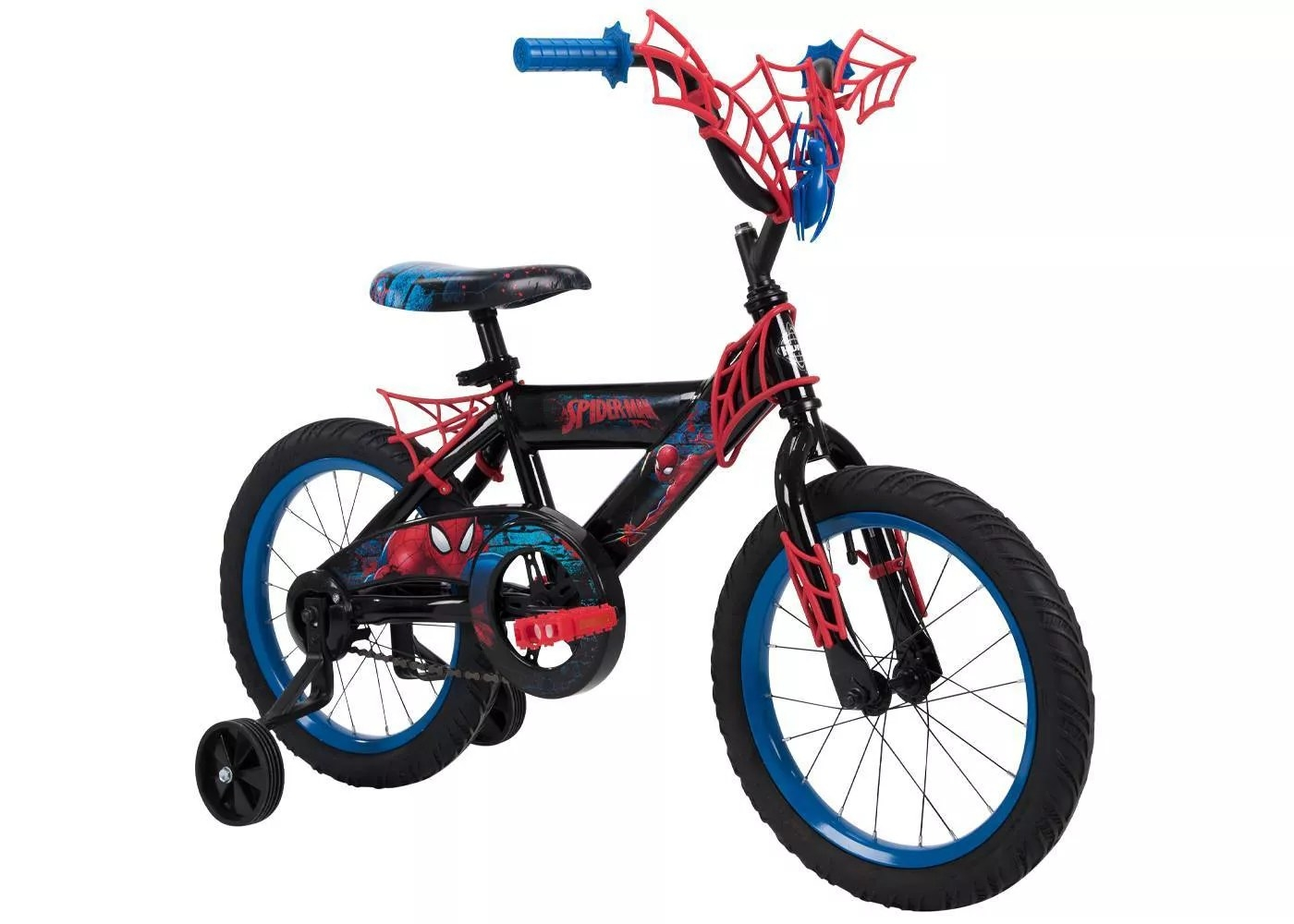 The Spiderman bike with training wheels