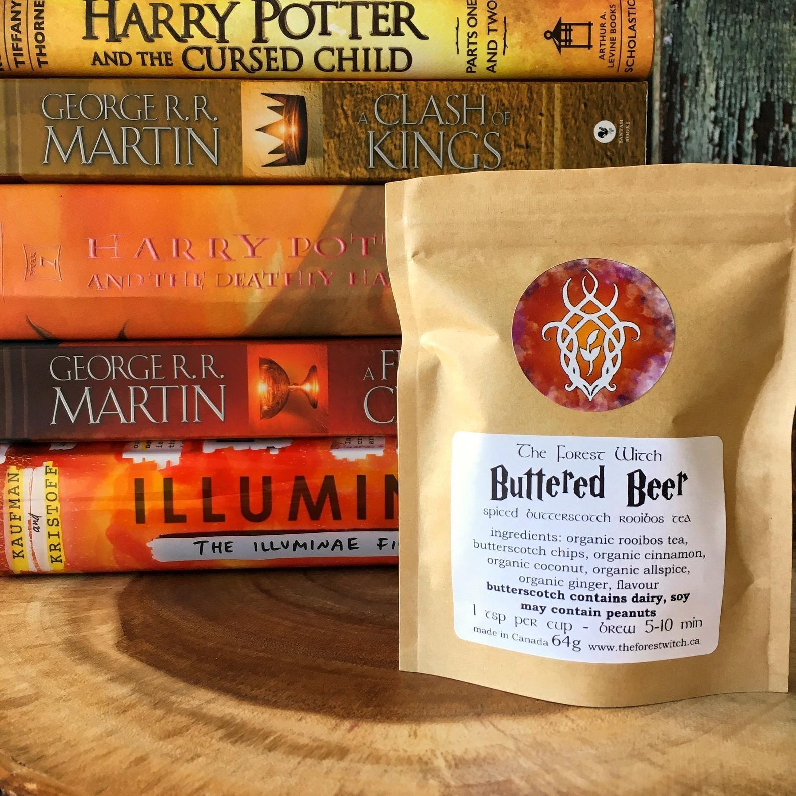 the butter beer tea in packaging