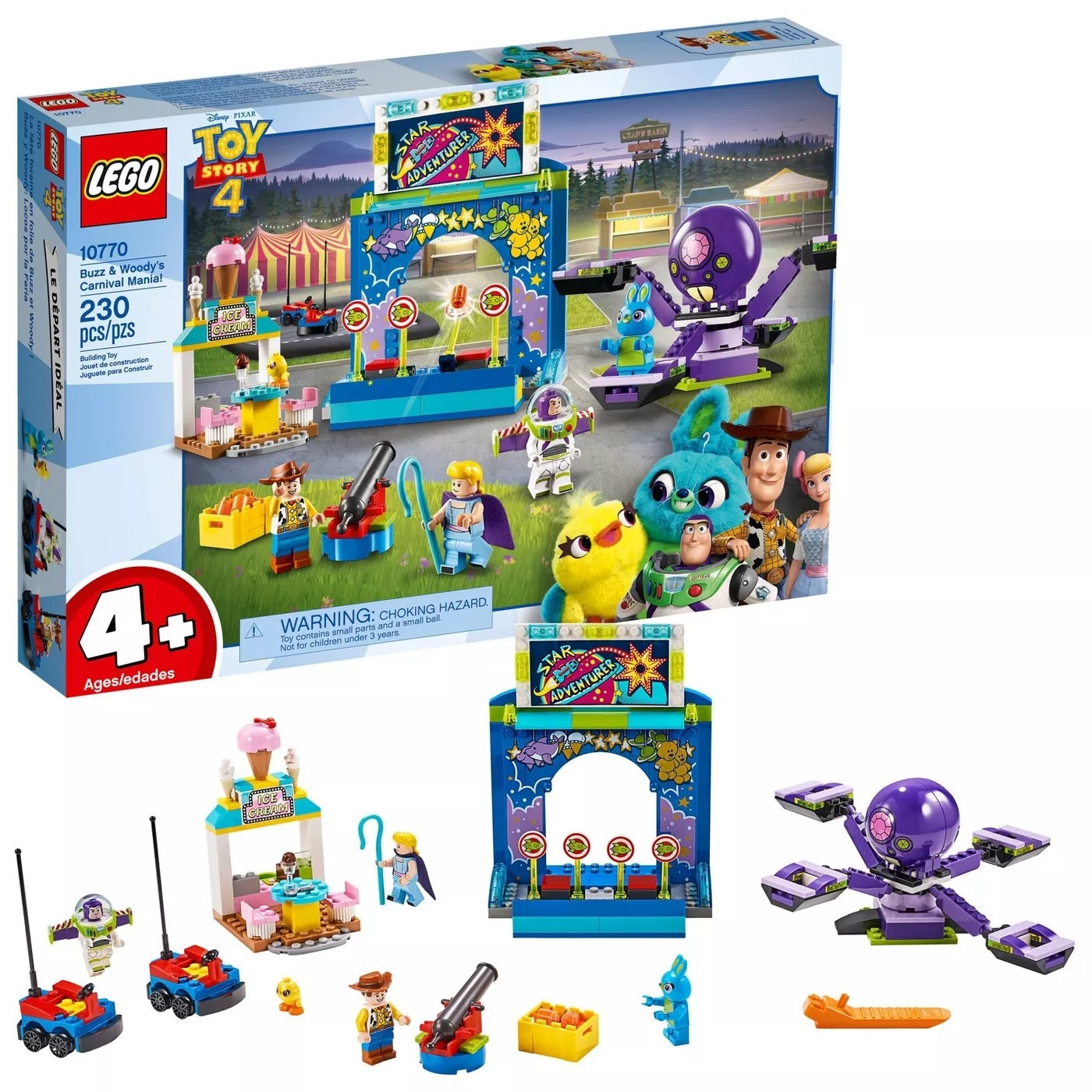 The 230-piece Toy Story 4 LEGO set for ages four and up