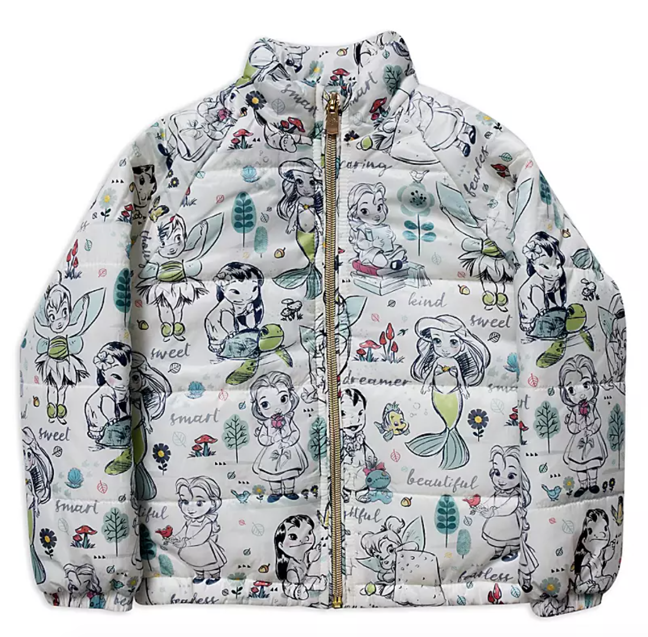 a white jacket covered in illustrations of the disney princesses as children