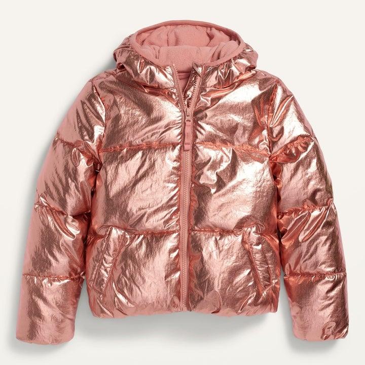 rose gold puffer coat