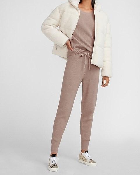 Model wearing the beige version