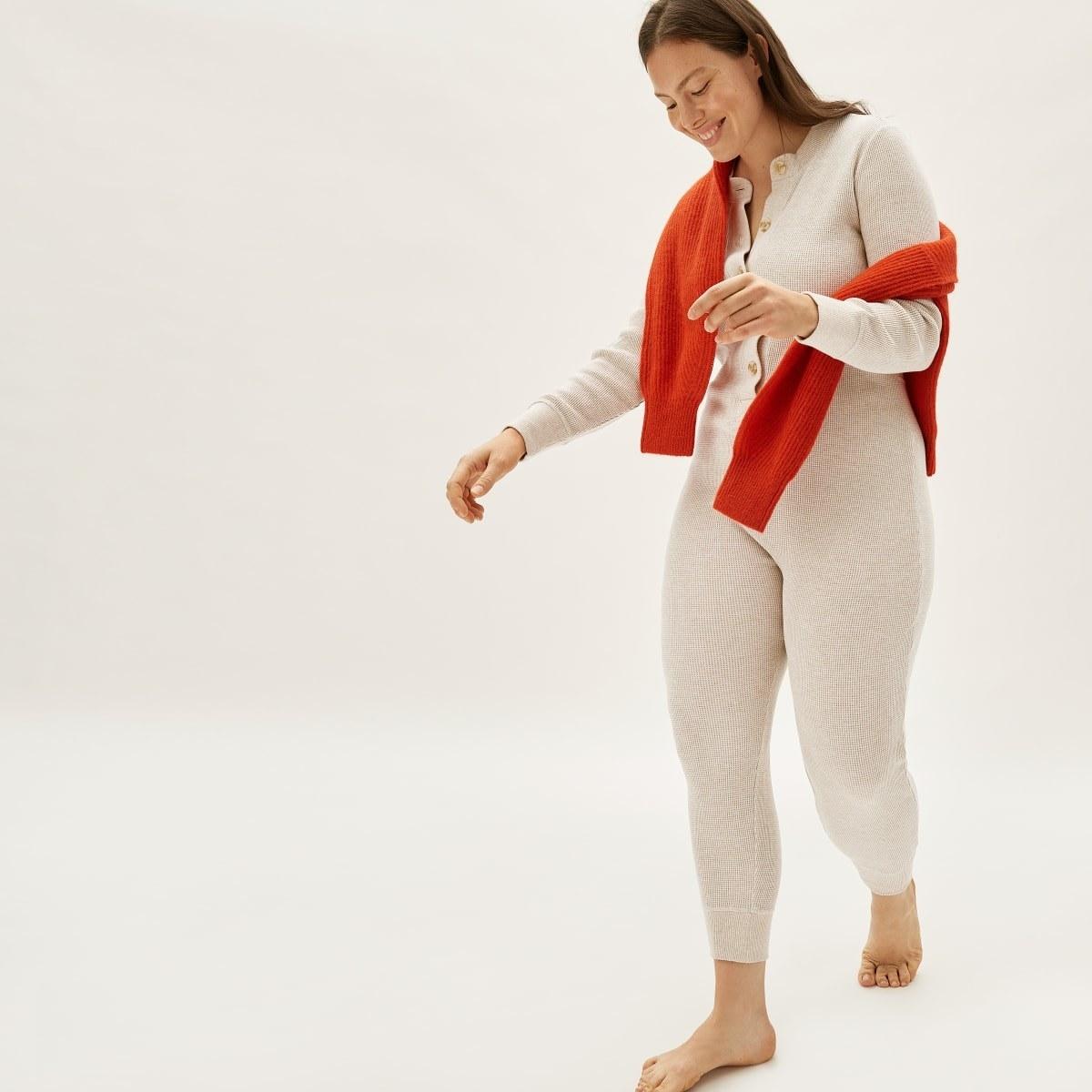 Model wearing the long-sleeve oatmeal color
