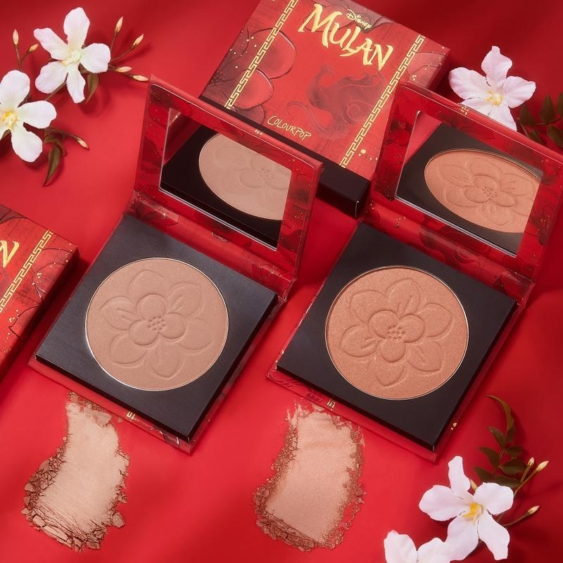 a blush palette with an imprint of a flower in it and mulan packaging