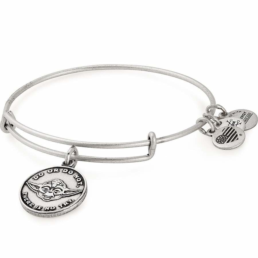 "the bracelet in silver with a charm of yoda and the words ""do or do not, there is no try"""