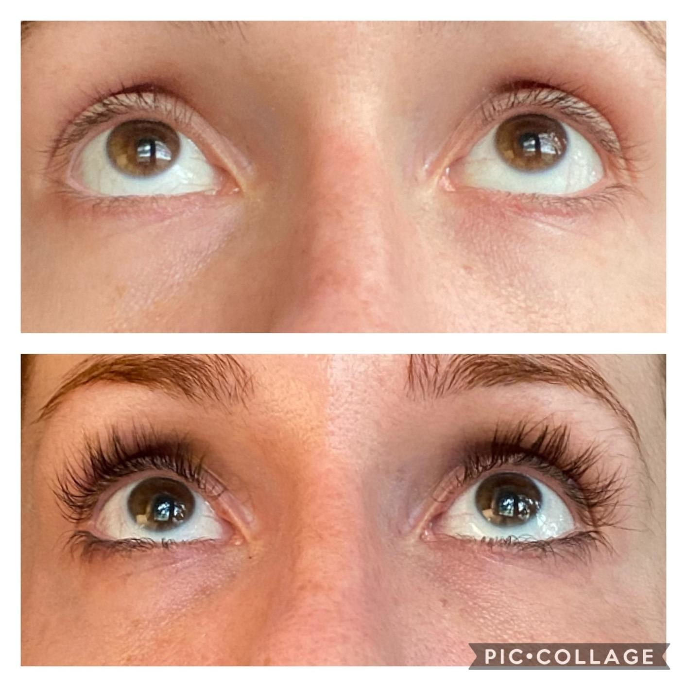 A before/after of a reviewer's lashes, looking much fuller and longer after