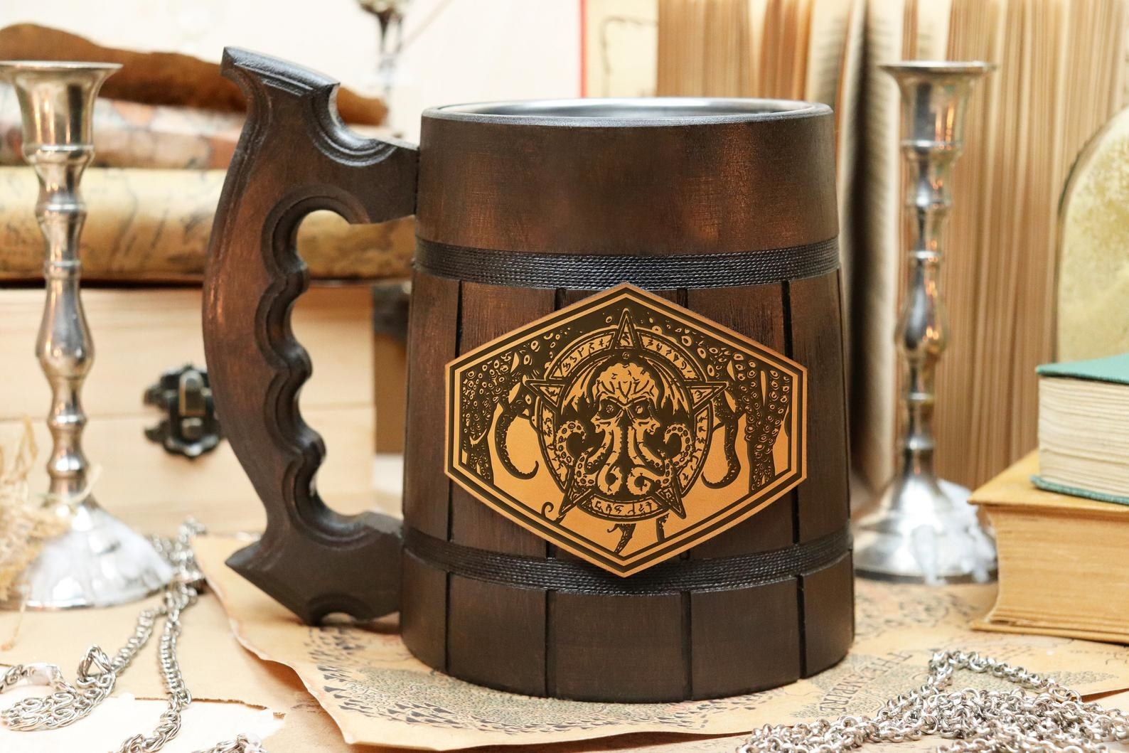 the handmade wooden mug in the dark wood color