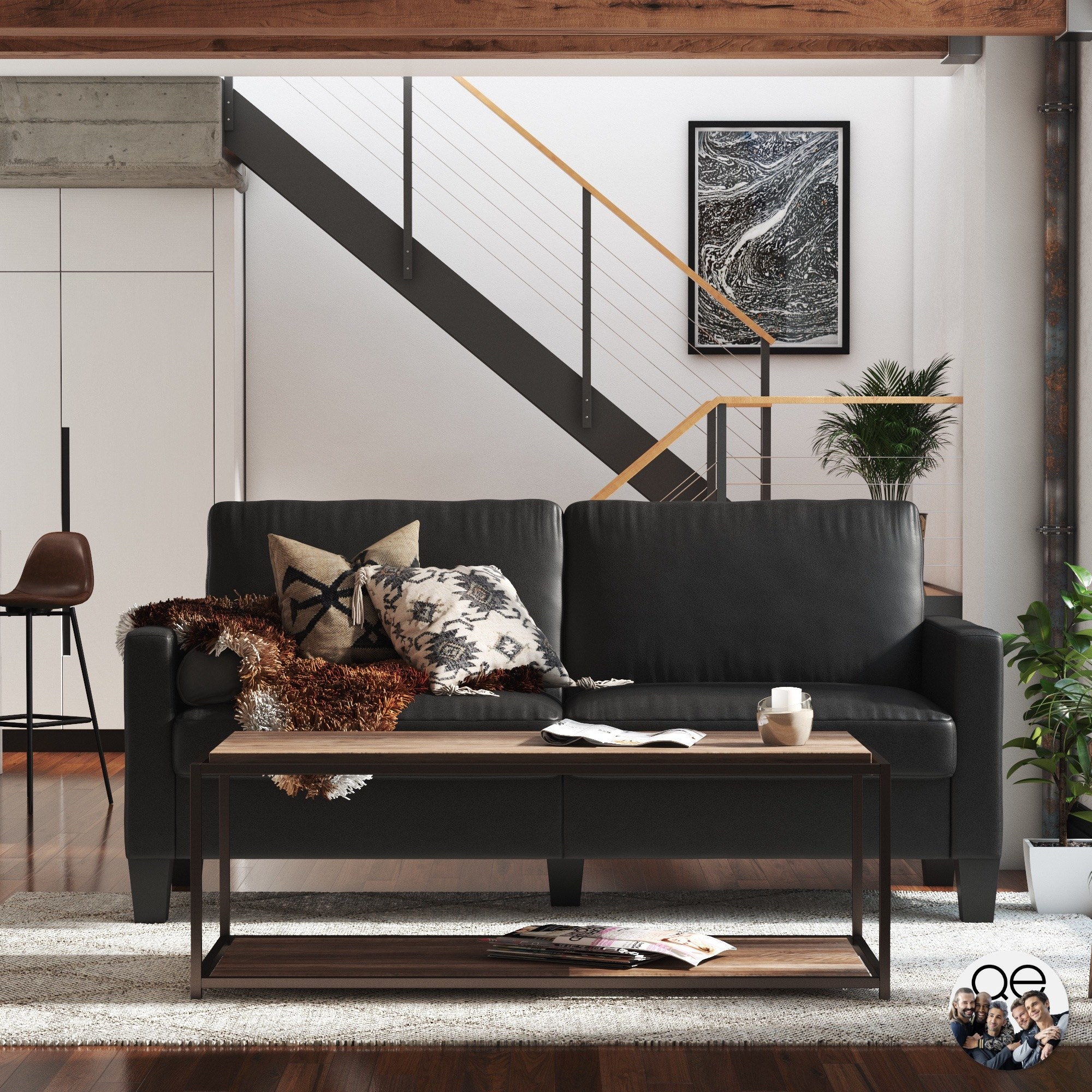 A black couch in a home