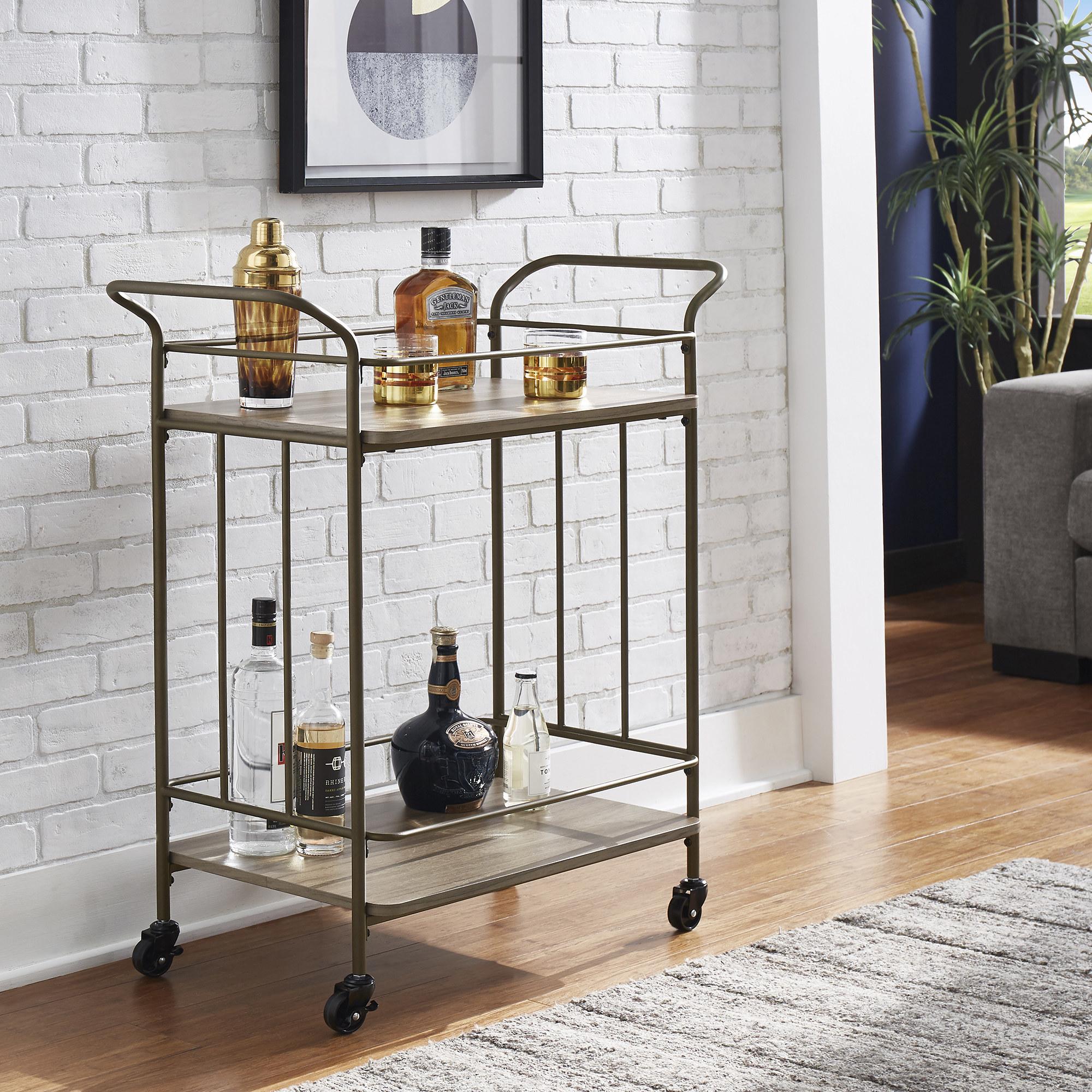 A simple bronze bar cart