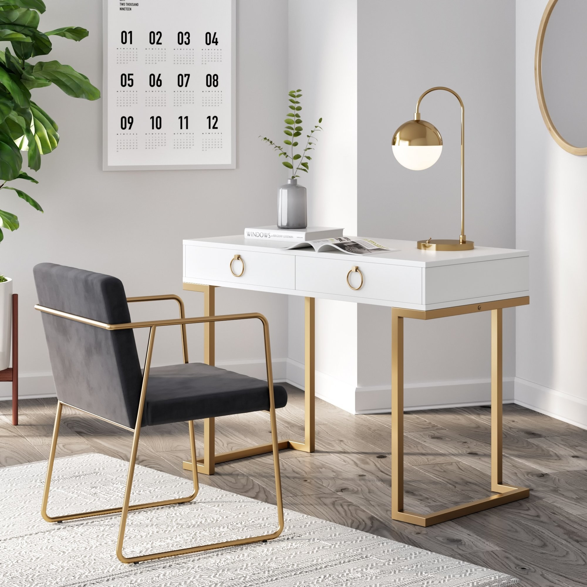 A white desk with gold detailing