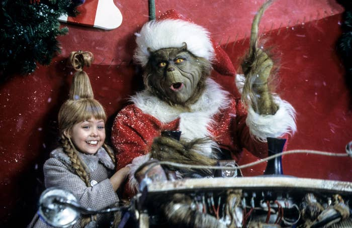 Jim Carrey as the Grinch and Cindy Lou Who