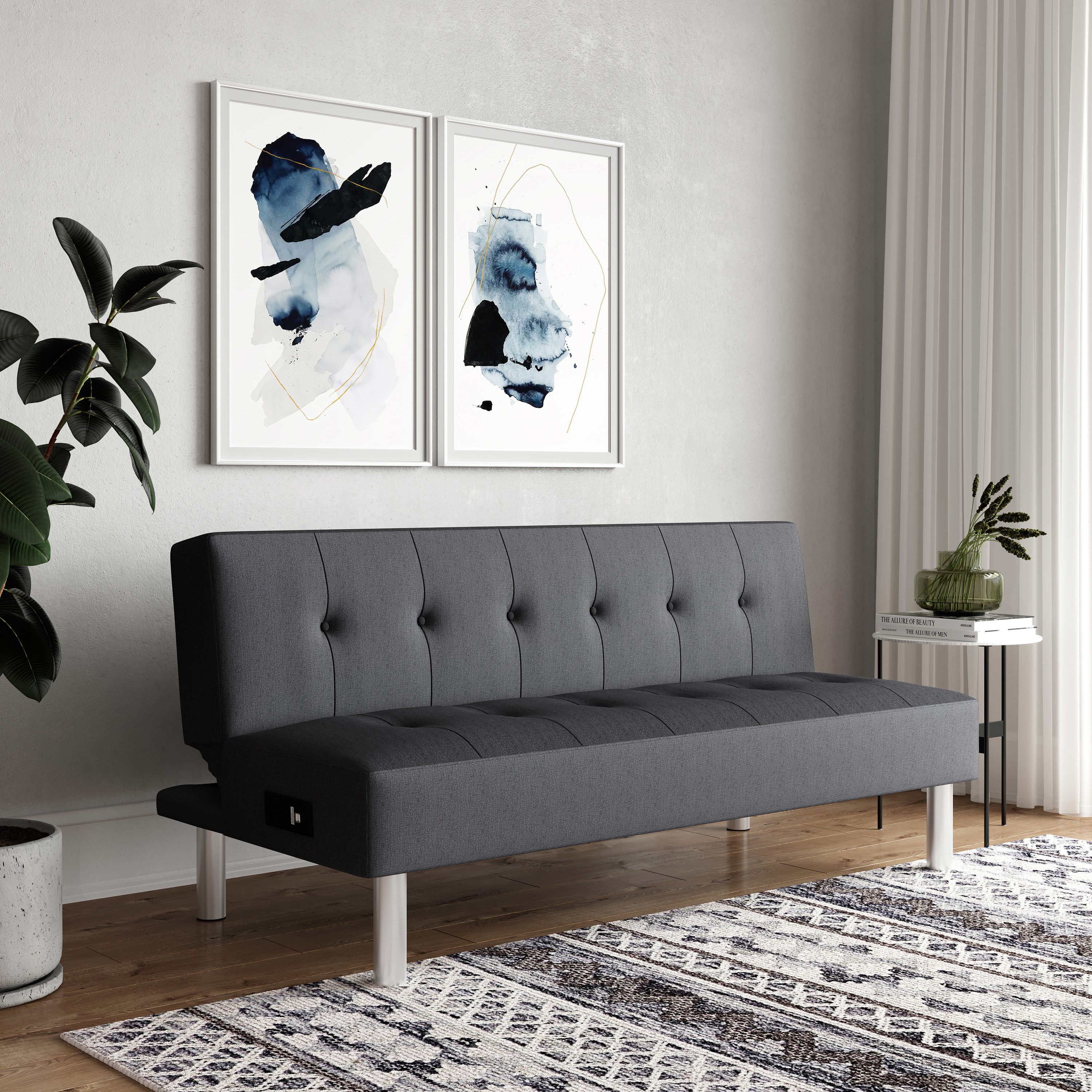A grey couch with a USB ports