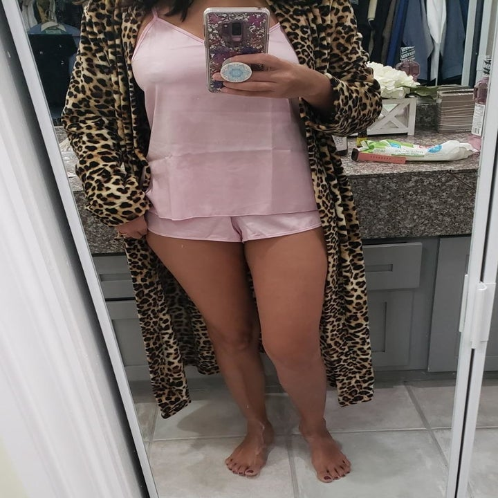 Reviewer wearing the pale pink set