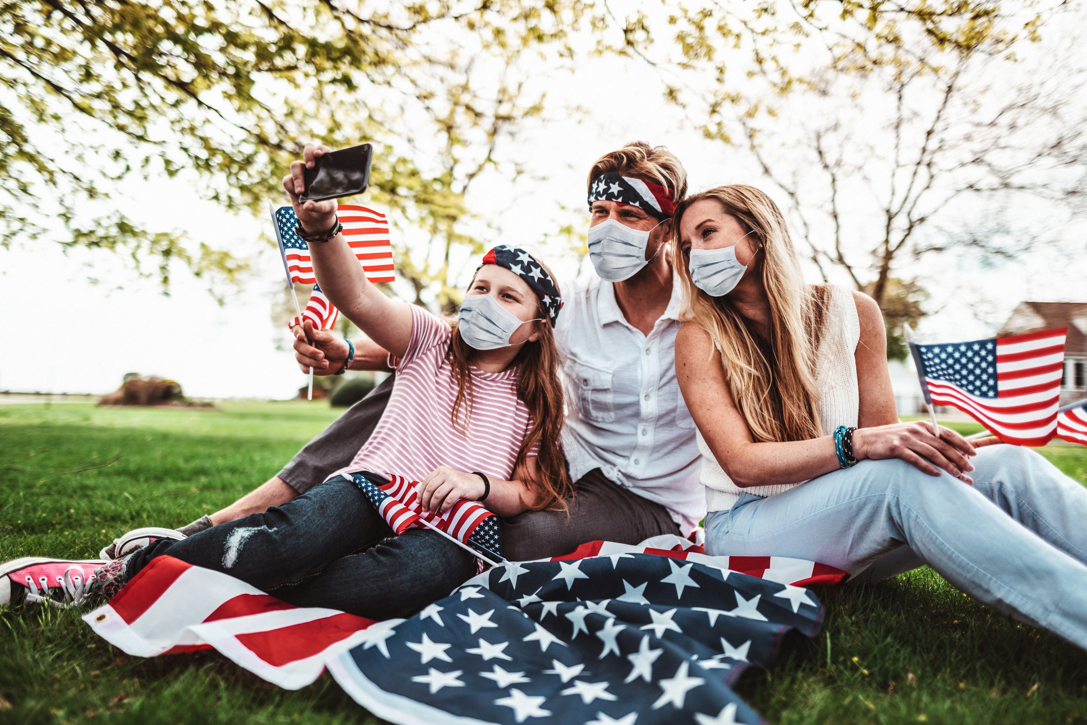 Family decked out in American flags