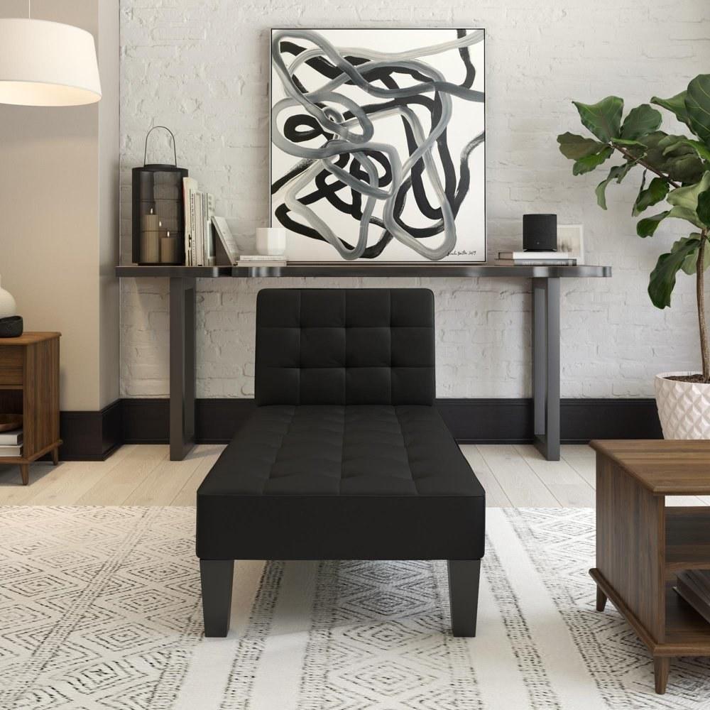 A black chaise lounger