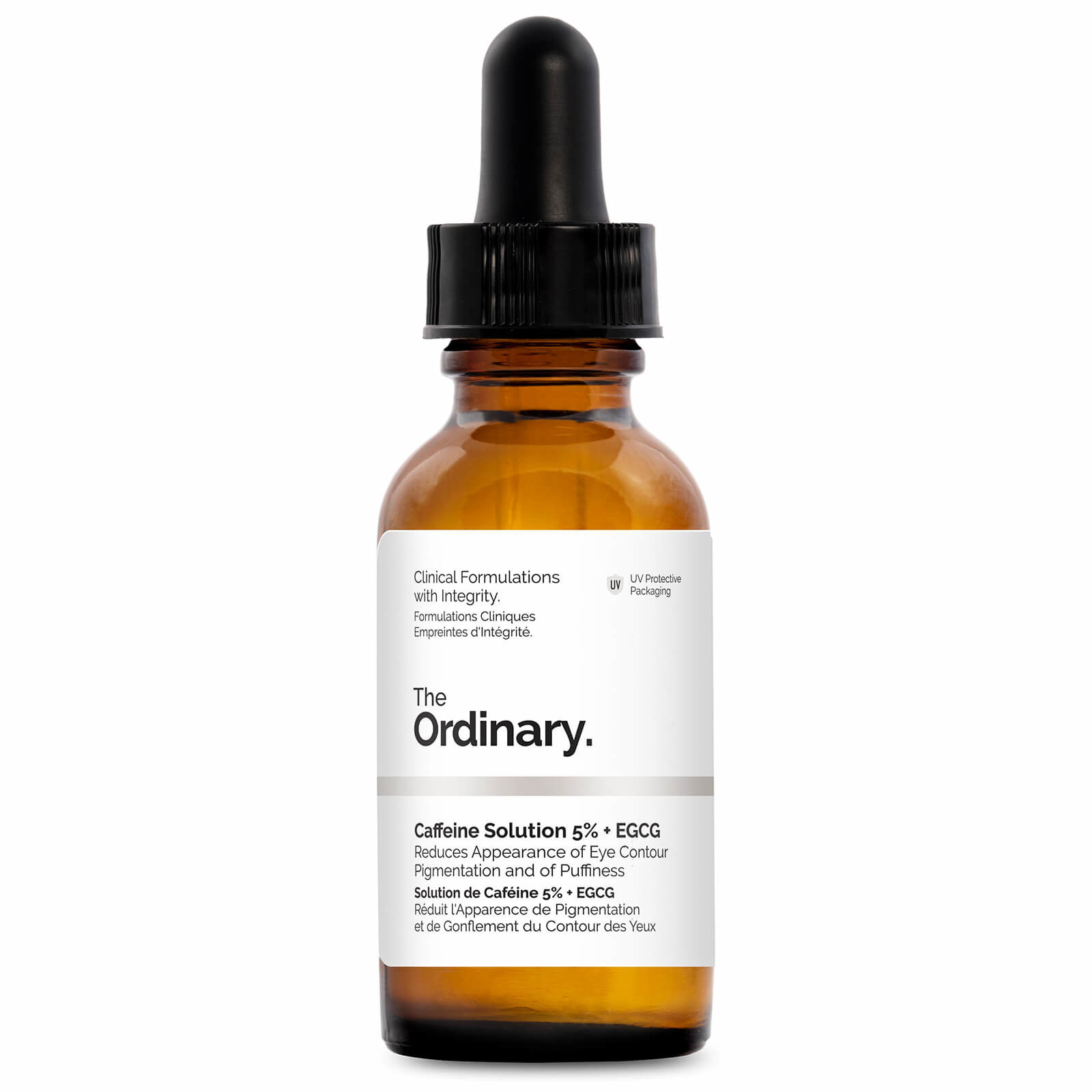 Brown dropper bottle of The Ordinary's Caffeine Solution 5% + EGCG