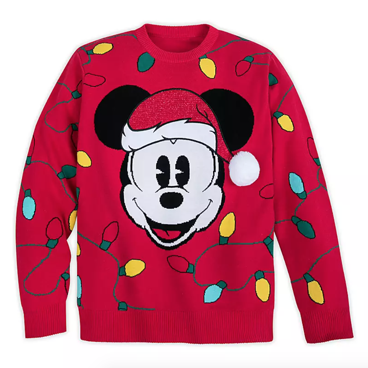 a red santa mickey sweater with christmas lights around him