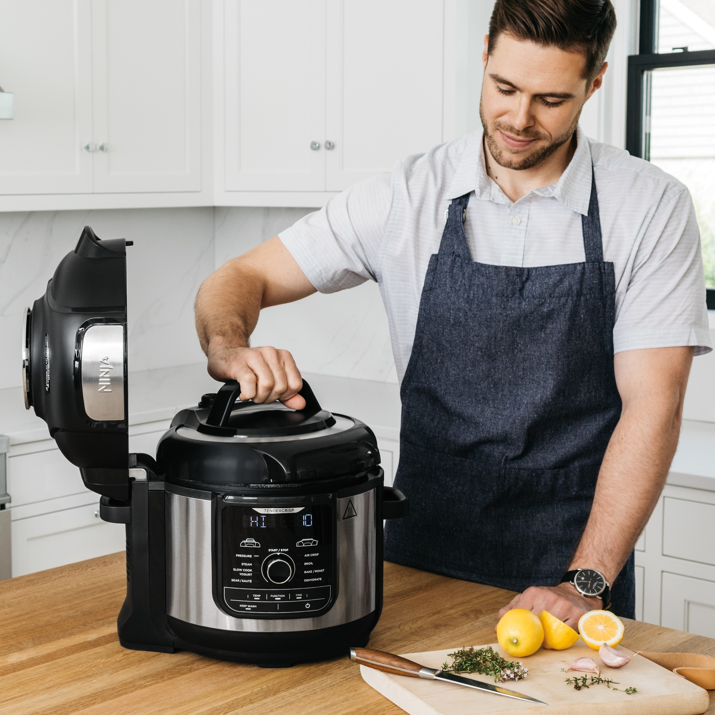 The pressure cooker being used