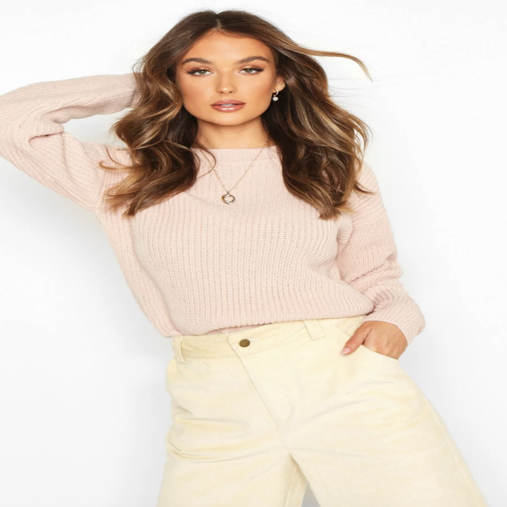 the sweater in blush pink