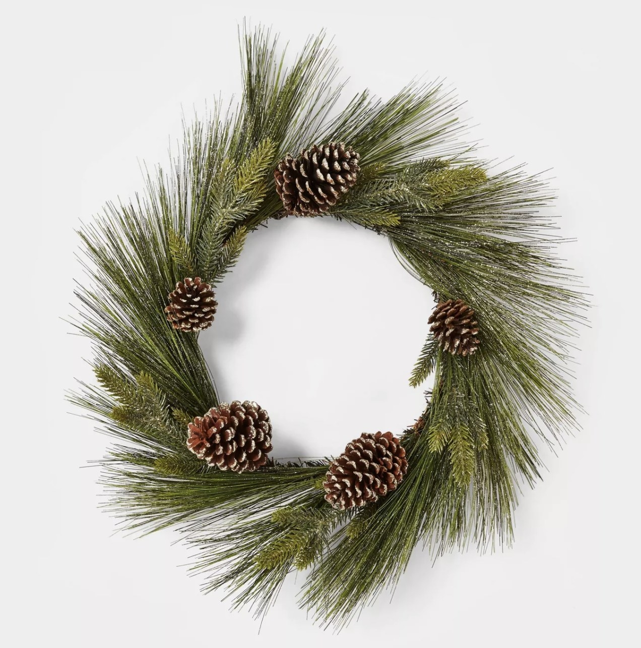 The pine wreath with pinecones