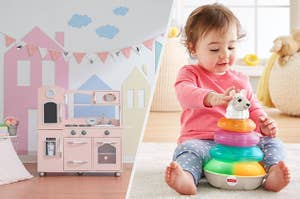 A play kitchen in pink, a child playing with a lights and color llama toy