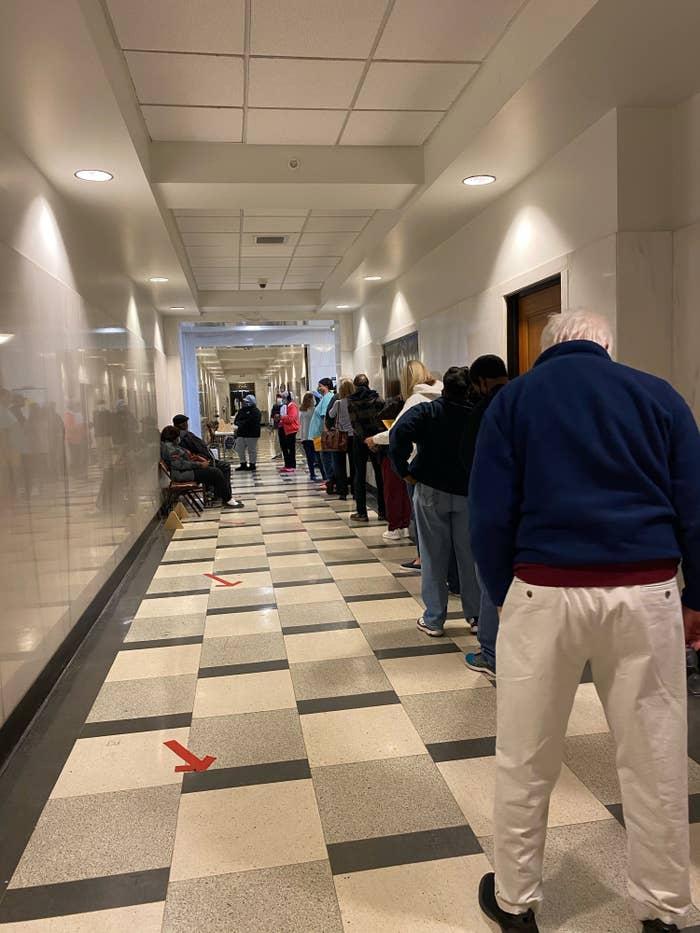 A dozen voters wait in line