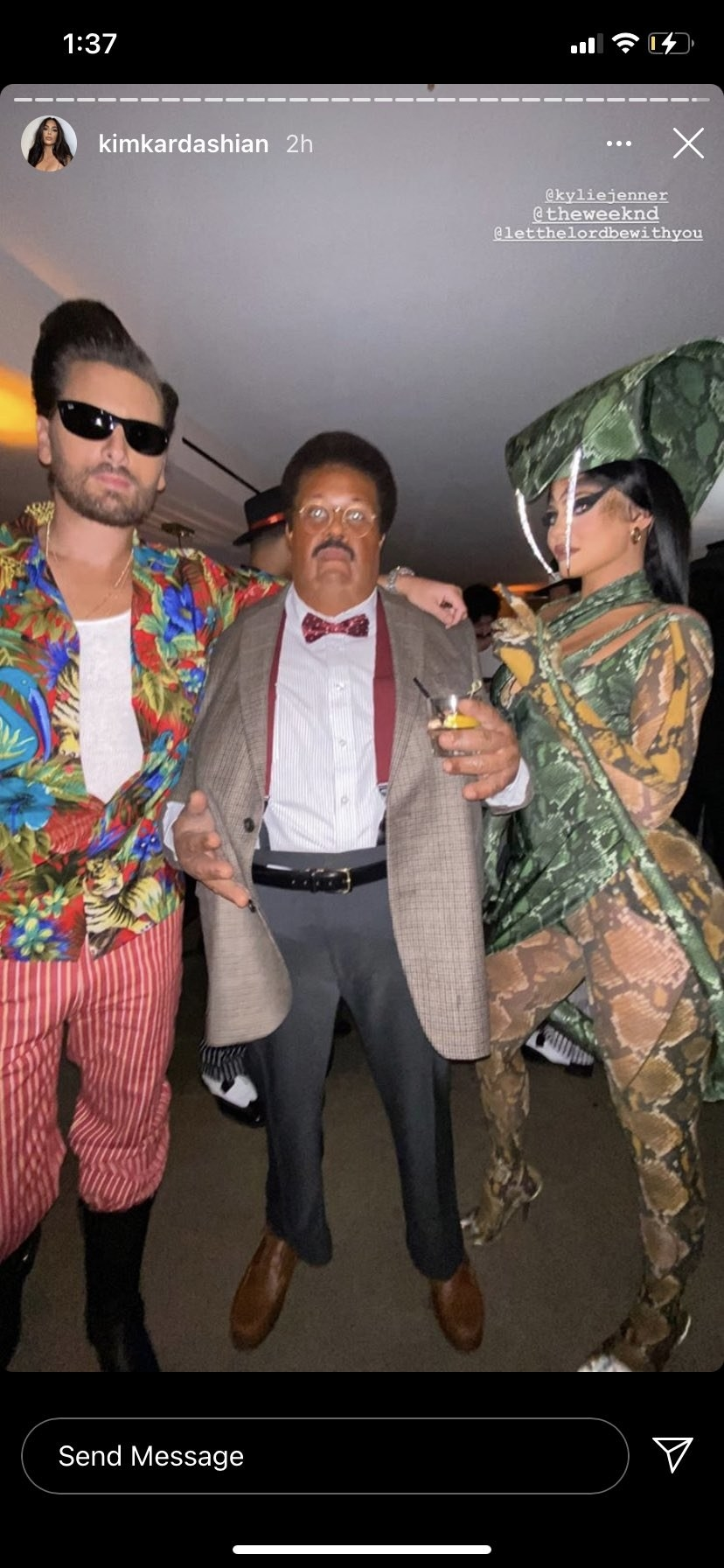 Scott Disick dressed as Ace Ventura, The Weeknd dressed as the Nutty Professor, and Kylie Jenner dressed as a sexy snake pose for cameras