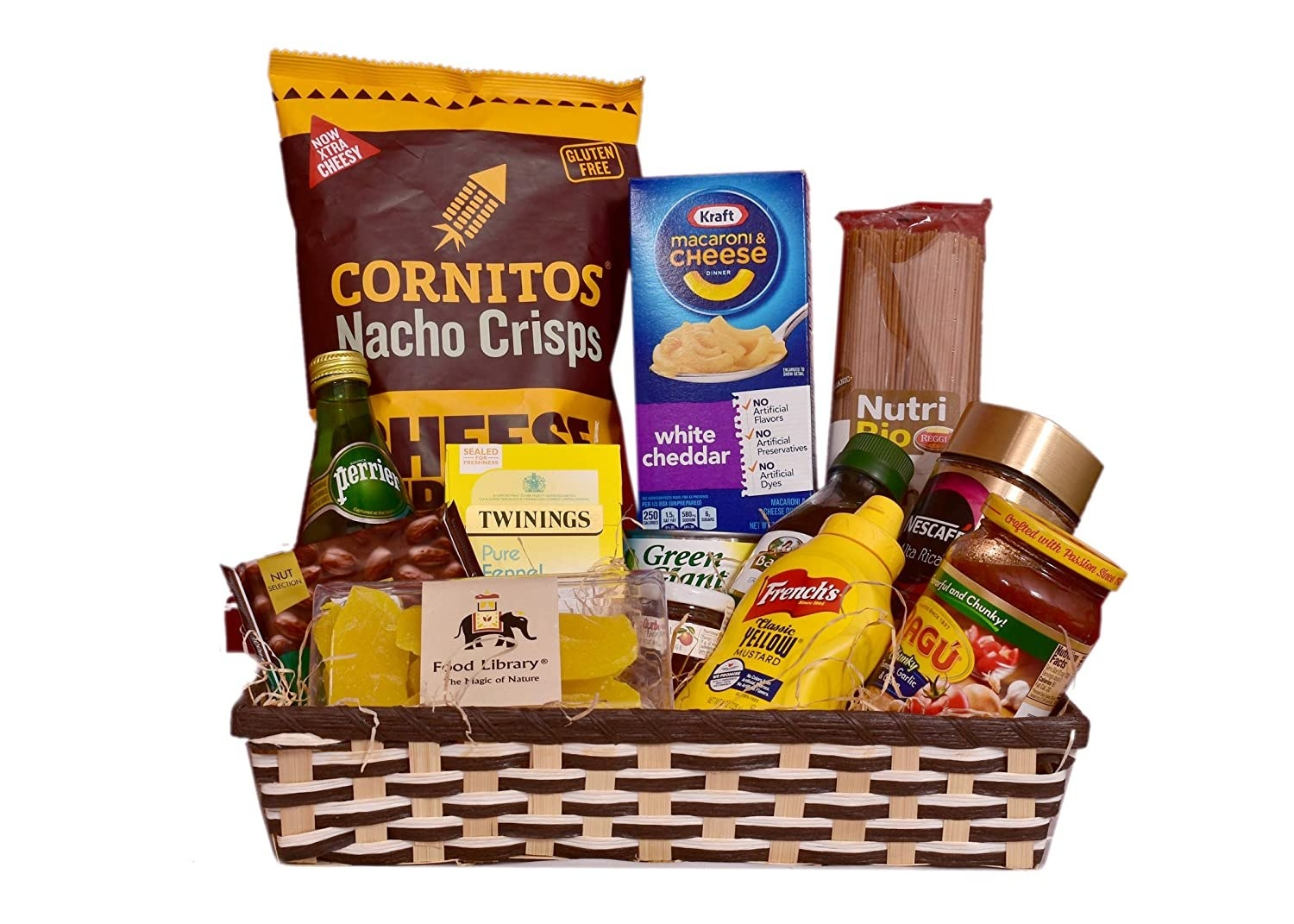 A snack basket filled with nachos, tea, coffee, pasta, sauces.