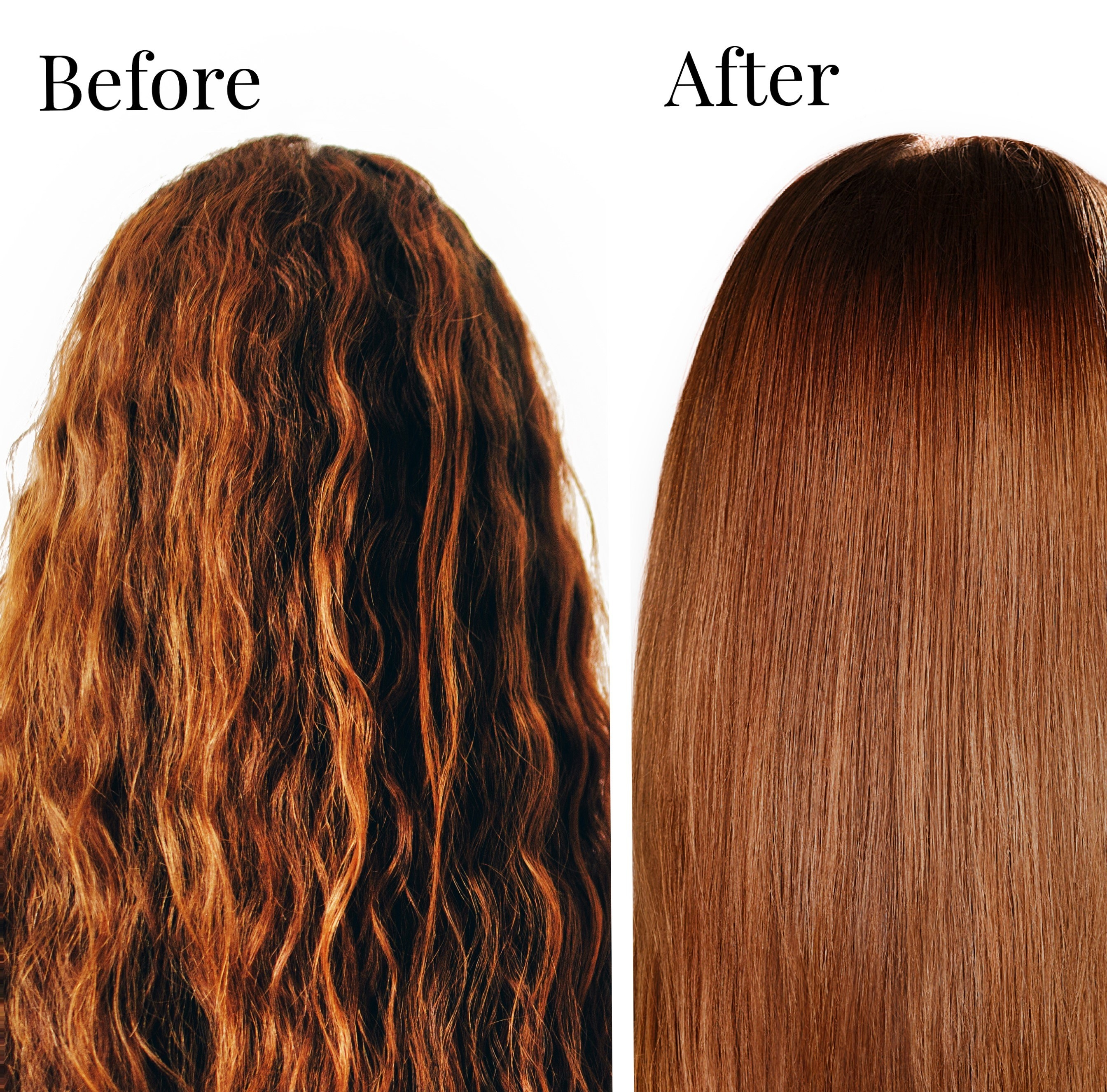 A before and after photo of wavy hair and straight hair
