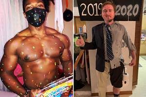 """打扮成宇宙布朗尼一个男人,半整齐的衣服,并标有""""2019""""一人一半褴褛和标有""""2020"""""""