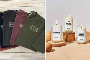to the left: an embroidered sweatshirt, to the right: a homesick candle