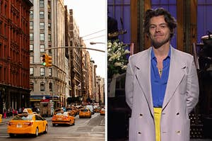 """On the left, a busy NYC street with taxis, and on the right, Harry Styles doing his """"SNL"""" monologue"""