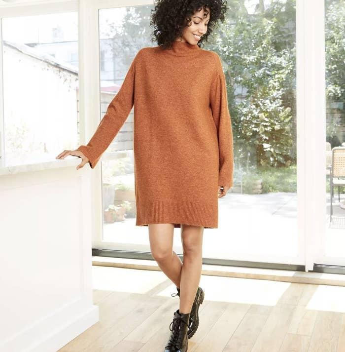 orange mock-neck long sleeve sweater dress