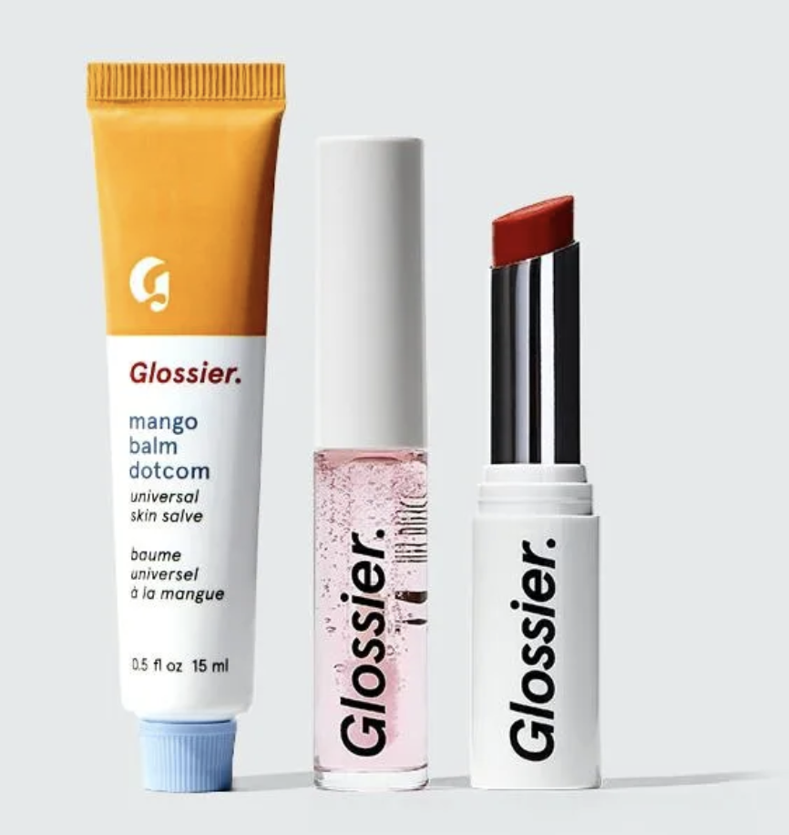 Glossier Core Lip Collection Set with mango balm dot com, clear lip gloss, and Generation G lipstick in Like