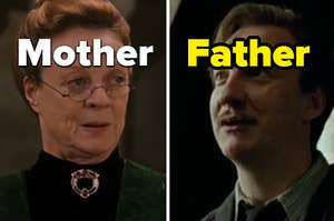 """McGonnagall is on the left labeled, """"Mother"""" with Lupin on the right labeled, """"Father"""""""