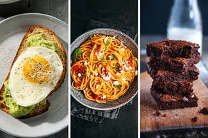 On the left, a slice of avocado toast with a fried egg on top, in the middle, a bowl of pasta with marinara sauce, and on the right, a stack of brownies
