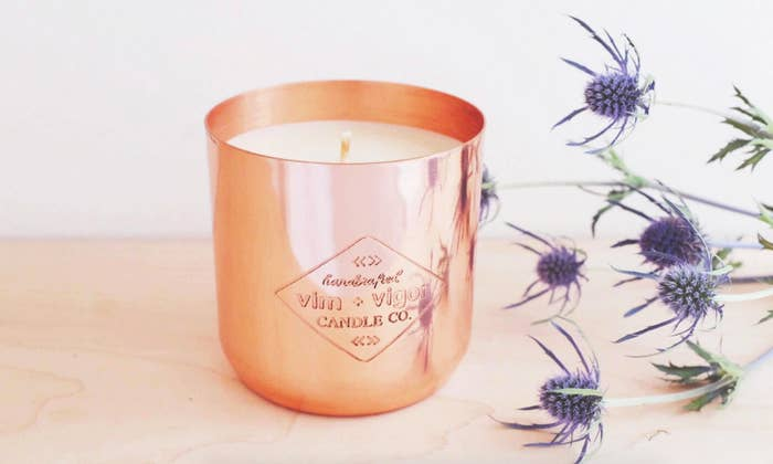 Engraved copper cup with soy wax candle