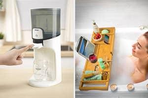 向左:净水器对于婴儿奶瓶,右边在浴缸的模型用托盘