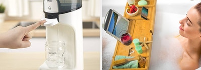 to the left: a water cleaner for baby bottles, to the right a model in a bath tub with a tray