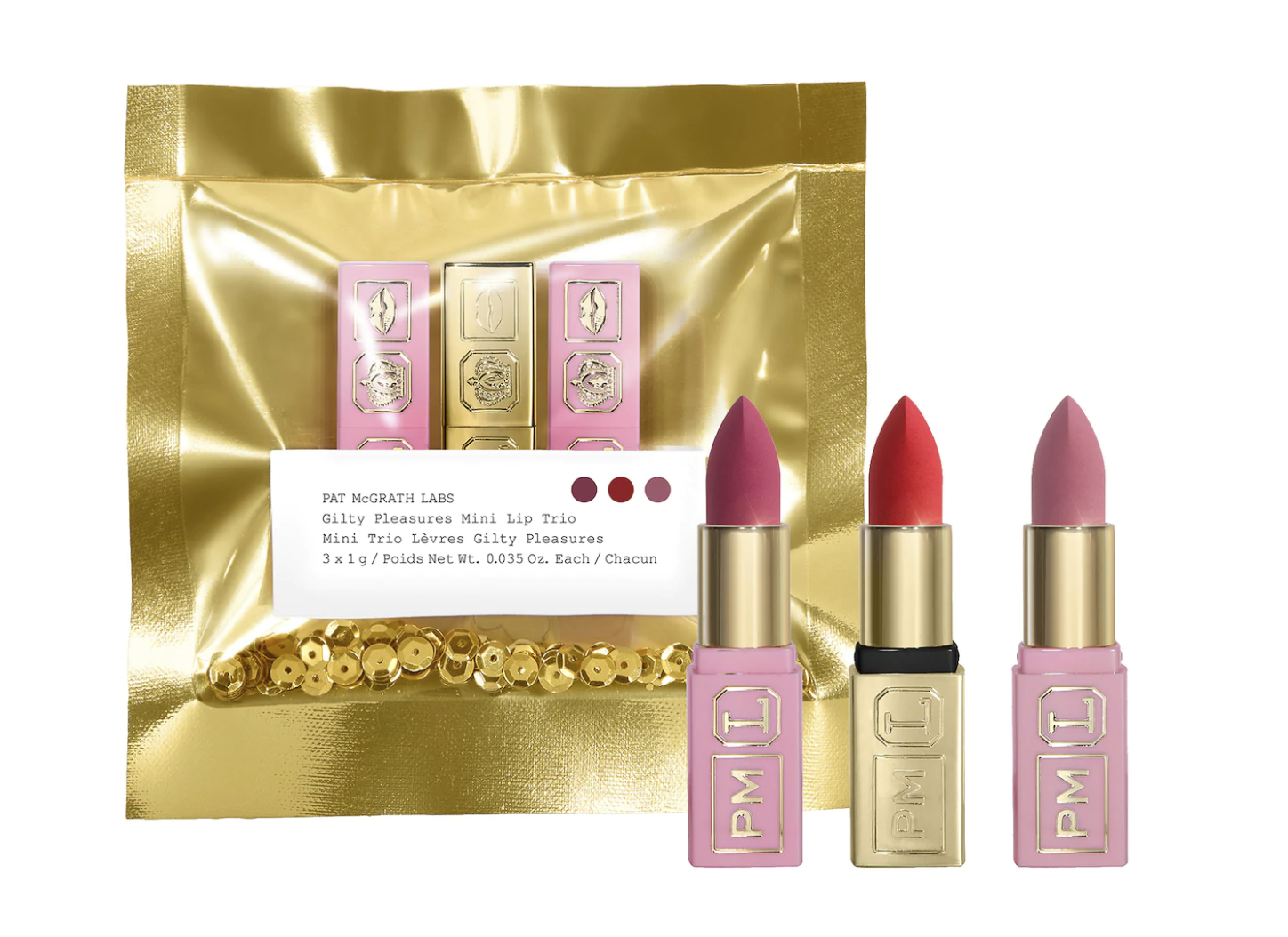 three lipsticks from the brand which are pink, mauve, and red. They come in a gold package.