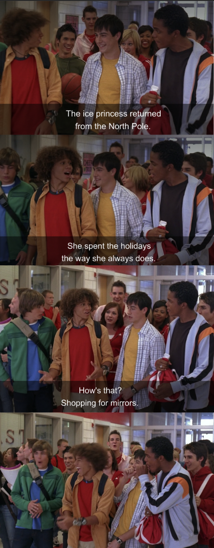 Chad says Sharpay spent the holidays shopping for mirrors, then they all cheer and laugh